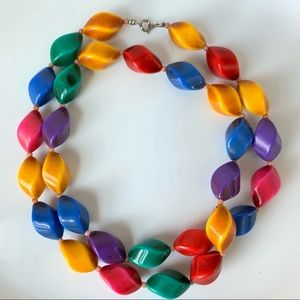 80s Vintage Harlequin Beaded Necklace